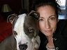 pet sitter with her pit bull in lilburn, georgia