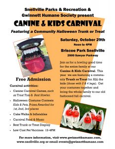 Good Dog! Coaching & Pet Care will be at canine carnival trunk or treat