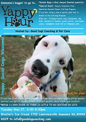 Good Dog! Coaching & Pet Care will be at yappy hour pet sitting event in lawrenceville, ga